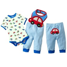 Buy Fashion 100% Cotton Baby Clothes Bodysuits Car Boys Tops Trousers Towel Set Short Sleeve Body Suit PP Pant Bibs for $10.38 in AliExpress store