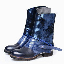 Autumn Winter Shoes Botas Feminina Outono Inverno Low Sqaure Heel Woman Riding Boots Patent Genuine Leather Blue Boots For Women