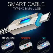 Type C USB Cable LED Light charger Cable Nylon Braided Cables Data Sync Adapter for Mi5 4C 4s OnePlus 2 Nexus 5X 6P MEIZU USB-C