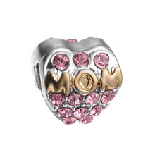 free shipping 1pc silver and gold mom with pink crystal european big hole bead CHARM Fits European Pandora Charm Bracelets A047