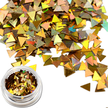 Mixed Laser Gold Nail Art Glitter Powder Dust 3d Sequin Paillette Spangle Laser Gold Triangle Shape for Nail Art Decor TRSJ03