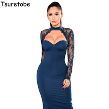 Tsuretobe Sexy Mesh Lace Dresses Women Hollow Out Long Sleeve Slim Bodycon  Pencil Dress BUSTIER Club 93f9962518fa