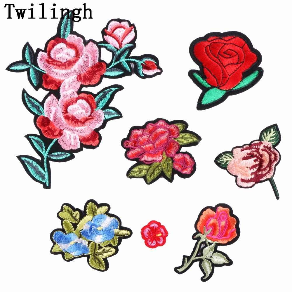 aa1b8e16f57d Шт. 1 шт. цветы нашивки вышитая наклейка пришить утюг на патч Синий Розовый  украшение