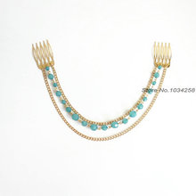 Fashion crystal beads hair jewelry 3 layered tassels hair comb