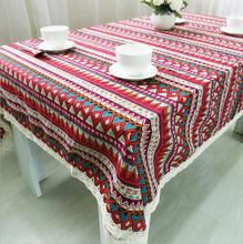 New Arrival Table Cloth Retro Ethnic Style High Quality Lace Edge Universal Tablecloth Decorative Table Cover Hot Sale