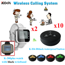 Wireless Waiter Calling System For Coffee Shop Hotel 10 Multi-button Pagers Bells And 2 Watches Pager Receiver(China)