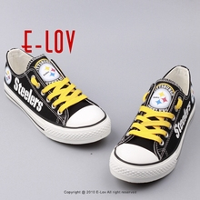 New Design Black Shoes Pittsburgh Steelers USA Star Gift Football Print Shoes Canvas Shoe Boy Men Fans Flats Shoes Free Shipping(China)