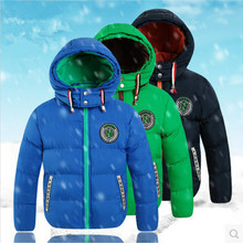 Children's Clothing 2017 Winter Boys Fashion Outerwear & Coats Cotton-padded jacket Hooded Plus Velvet Thicken Jackets For Boys(China)