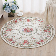 Fadfay Rustic Floral Rose Design Bath Rugs Rural Country Style Floor Rugs For Home Decoration 31.5'' Round Plant Flowers Carpet(China)