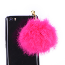 JETTING Dust Plug Stopper /Ear Cap Crystal ball Rabbit Fur Anti-dust Plug for All 3.5mm Earphone Jack Phones
