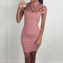 Women Autumn High Neck Hollow Out Evening Party Mini Dress Sexy Bodycon Bandage Dresses Short Sleeve Top