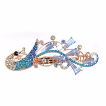 Blue Simulated Crystal Zinc Alloy Long Peacock Party Hair Accessory Girl's Perfect Jewelry For Wedding