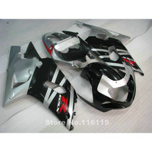 Hot sale fairing kit for SUZUKI GSXR 600 GSXR 750 K1 K2 2001 2002 2003 black silver fairings bodywork gsxr600 gsxr750 01 02 03 B(China)
