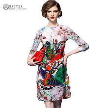Women 2017 Summer Beautiful Imitation Silk Dresses Europe Vintage Straight Style 3/4 Sleeve Elegant Peacock Printing Dress OKA8