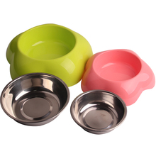 Stainless Steel Dog Bowl for Small Dogs Puppy Cats Food Contaniner Drinking Bottle Dog Eating Dish Pet Supplies Pink Blue Yellow(China)
