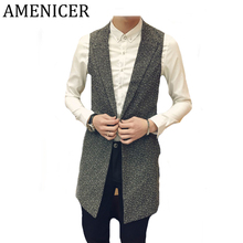 2017 Mens Vests Korean Turn-down Collar Single Button Slim Fit Casual Fashion Sleeveless Mans Blazer Vests Gilet Homme Marque(China)