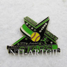 Custom hard enamel football Lapel Pin star Enamel with Epoxy 50.8MM No MOQ cheap price fast production high quality(China)