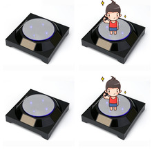 4PCS Mirror top Solar Powered Jewelry Watch Black Solar Rotating Display Stand Turn Table LED Light