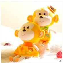 Creative pillow doll plush toy monkey monkey couples children chocolate monkey doll Chinese valentine's day gift(China)