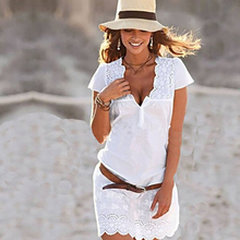 white lace beach dress deep V neck sexy sundress summer short sleeve mini dresses Vestido S-XL (no belt)(China)