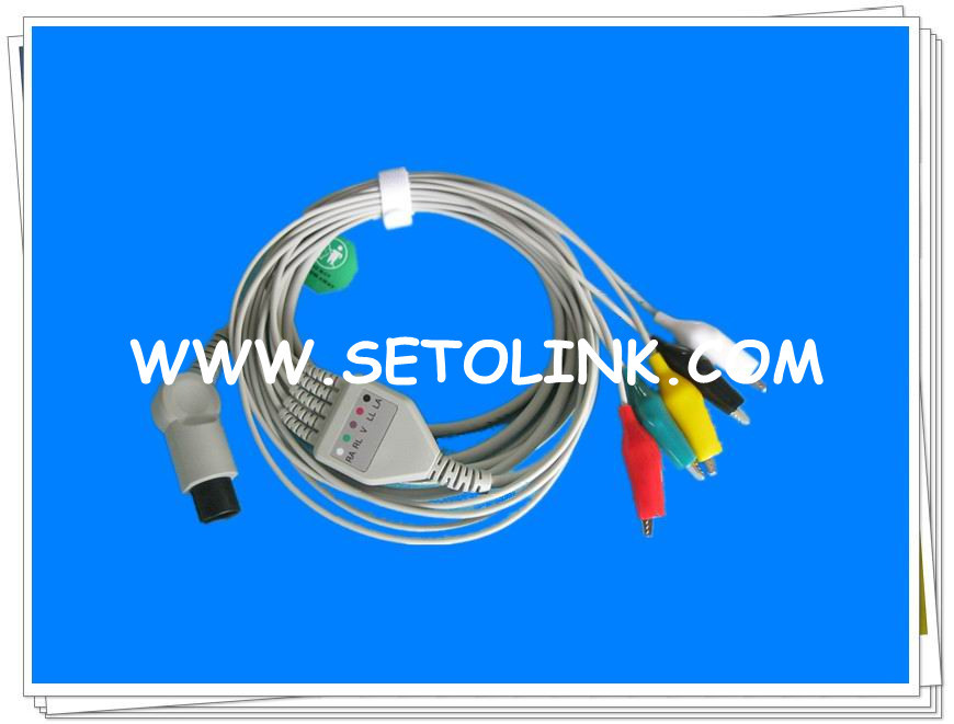 VETERINARY USE ECG CABLE 5 LEADS CLIP END 6 PIN PLUG<br><br>Aliexpress