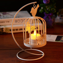 Decorative Hanging Design Metal Lantern Butterfly Pattern Candle Holders candelabro Bird Cage candlestick for Wedding Home Decor(China)