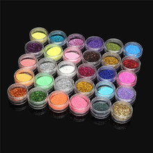 30pcs/set Mixed Colors Powder Nail Polish Pigment Shimmer Glitter Mineral Spangle Waterproof Eyeshadow Makeup Cosmetic Set