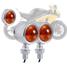 Chrome Universal Bullet Motorcycle Motocicleta Turn Signal Indicator Amber Blinker Motorbike Lights 1 Pair(China)