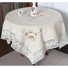 Table Cloth Chinese Handmade Ribbon Embroidery Tablecloth Lacecwork Round Dining Table Covers Home Decor Toalhas De Mesa Bordada