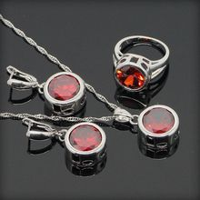 925 Sterling Silver Red Garnet  Jewelry Sets For Women Round 925 Silver Pendant Necklace Earrings Rings Free Gift Box