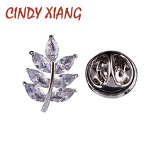 CINDY XIANG AAA Zircon Leaf Collar Brooches Unisex Brooch Pin Copper Jewelry Bijouterie Badges Small Wedding Accessories Gift(China)