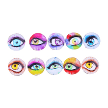 10 Pcs 18MM Glass Dolls Eye DIY Craft Eyes for Toy Colored Pattern Eye Decora Accessories Color random