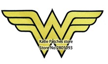 Large Size Wonder Woman Logo Iron On Patch, Comics Super hero Logo Biker Vest Fabric Patch, Children's DIY Clothing Accessories(China)