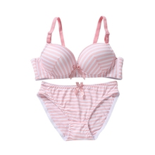 Buy 3 Color Thin Women's Seamless Stripe Bra Sets Gather Adjustable Bras  Padded Brassiere Lingerie Underwear + Brief Sets