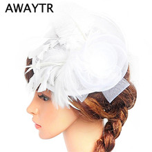 AWAYTR Women Lady Feather Lace Veil Hair Band Bridal Wedding Party Jewelry Flower Sinamay Hat Headband Hair Accessories