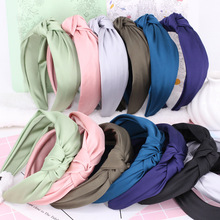 3pcs/lot Solid Colour Satin Hairbands For Girls Knot Design Headbands For Women Fashion Hair Accessories High Quality Headwear(China)
