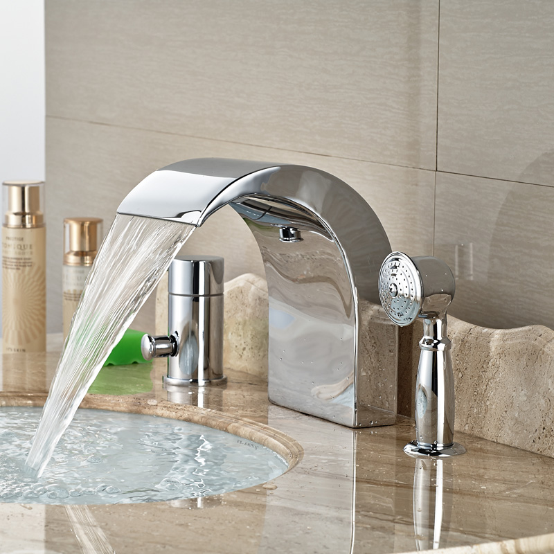 Deck Mount Single Handle Waterfall Bathtub Mixer Faucet Tap Widespread 3pcs Tub Filler with Handshower<br><br>Aliexpress