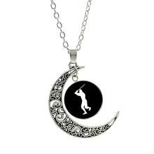 NEW novelty exquisite Love Fencing women pendant necklace vintage moon charms  Swordsman jewelry sports style club gifts SP83