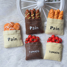 Creative Linen Bag Tomato Bread Resin Fridge Magnets Stickers Phone Case Diy Accessories Home Decoration