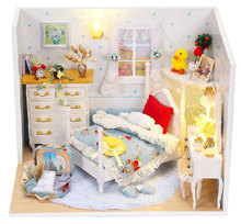 Q001 DIY Wooden Doll House bedroom With Furniture Lights Model Building Kits 3D Miniature Dollhouse Dolls Toy Princess room(China)