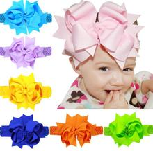 10pcs options Baby Girls Satin Ribbon Flower Headbands 20cm children hair bow hairpin hair band Christ Headbands 2016new