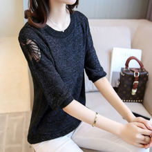 Harajuku Butterfly Lace Crochet Sweater Women Jumper 2017 Summer Autumn Solid Color 3/4 Sleeve Knitted Sweaters Female Pullover