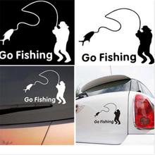 Brand New 1Pcs Hot Sales Waterproof Black Go Fishing Car Sticker Decals for Car Auto Accessories Useful(China)