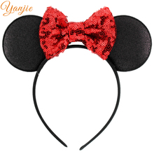 10pcs/lot Minnie Glitter Ears Headband 2017 Girls And Kids Sequin Bow Satin Headband Girls DIY Minnie Hair Accessories(China)