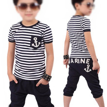 2017 NEW children clothing set anchor boys set baby sets short t shirt+pants 2 pcs set clothes kids suit 2-7Years