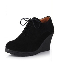 New Womens Scrub Surface Wedge Bootie Oxford High Heel Ankle Boot Shoes Fashion Platform Black High Wedge Casual Shoes B911
