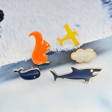 Cartoon aircraft cloud shark whale squirrel Brooch Pins Air plane DIY Denim jacket Pin Badge Jewelry Gift for kids women girl(China)
