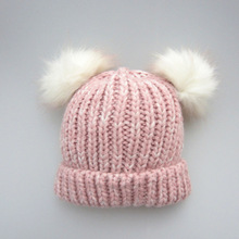 Mother & Kids Winter Hat Fur Ball Pink Color Cap For Kids Girl Warm Fur Pom Hat Bobble Ski Winter Hat Baby Knit Crochet Hats