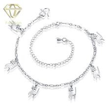 Cheap Silver Jewellery Wholesale Fashion Cute Lucky Dogs Anklets for Women Silver Plated Foot Bracelet Leg Chain Jewelry