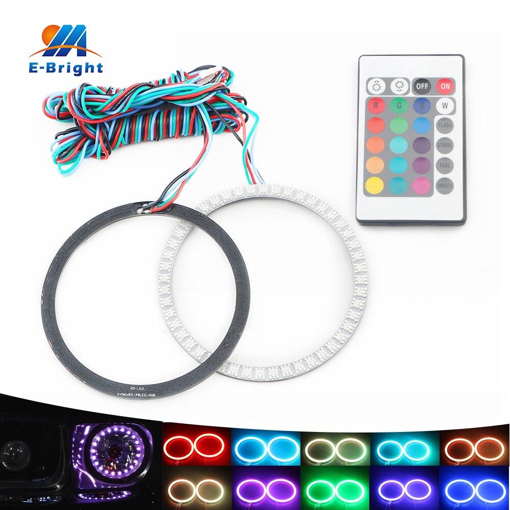 80mm LED Angel Eyes Headlight 12V RGB Rings With Remote Controller e39 e46 e36 e90 e39 5050 SMD Car LED Halo Accent Light Kit<br>